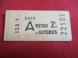 RATP / Métro Ou Autobus/ A /  2 éme Classe/ 123 T / Vers 1950-1970  TCK34 - Europe