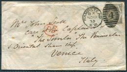 "1873 GB Hampstead NW 4 Duplex 6d Rate Cover - Mr John Scott, C/O Captain Of The P&O Steamship ""Simla"", Venice Italy - Storia Postale"