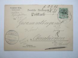 1897 , Halberstadt , Firmenlochung Auf Karte , Perfin - Briefe U. Dokumente