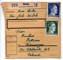 Allemagne  / Colis Postal  / Départ  Osche ( Kr Schwetz , Weichsel  ) / 21-1-43 - Allemagne
