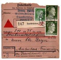 Allemagne  / Colis Postal  / Départ  Saarbrücken / 26-1-43 - Allemagne