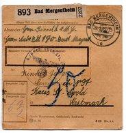 Allemagne  / Colis Postal  / Départ  Bad Mergentheim / Pour Sengbuch ( Seingbouse )  / 22-1-43 - Allemagne