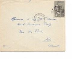 SH 0325. MONACO TP 1 Fr (Yv.  177) MONTE-CARLO 11.7.40 S/L. V. Fr. BOVESSE à SETE - Guerre 40-45