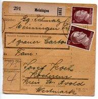 Allemagne  / Colis Postal  / Départ  Meiningen / Pour Kochern ( Cocheren ) - Allemagne