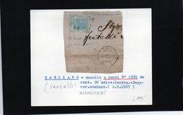 CG11 - Frammento Con Annul. Sagliano Micca 2/5/1867 - Ann.a Punti N. 1951  Su Cent.20 E.Londra + Doppio Cerchio Nom. - Marcophilia