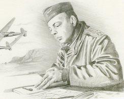 Antoine De Saint Exupéry A La Base De Borgo En Corse (1944)   -  Portrait Au Crayon Par Benjamin Freudenthal - CPM - Aviateurs