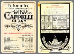 FOTOMETRO Per PELLICOLE CAPPELLI - MILANO / DISQUE PHOTOMÉTRIQUE Pour DÉTERMINER LE TEMPS DE POSE ~ 1910 - RRR ! (ae078) - Matériel & Accessoires
