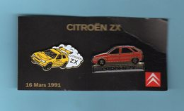 Fev20   Réf 86167      Deux  Pin's    Citroen  ZX  1991 - Citroën