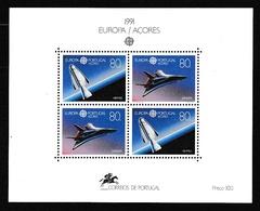 1991 Portogallo Azzorre Portugal Azores EUROPA CEPT EUROPE Foglietto Spazio MNH** Souv. Sheet - Europa-CEPT