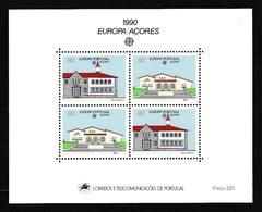 1990 Portogallo Azzorre Portugal Azores EUROPA CEPT EUROPE Foglietto Spazio MNH** Souv. Sheet - Europa-CEPT