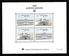 1990 Madeira Portogallo Portugal EUROPA CEPT EUROPE Foglietto Edifici Postali MNH** Souv. Sheet - Europa-CEPT