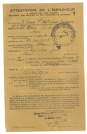 DIRECTION GENERALE DU RAVITAILLEMENT /  ATTESTATION EMPLOYEUR  CATEGORIE T / PEINTURES ASTRAL CELLUCO  C21 - Documents Historiques