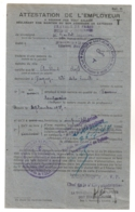 DIRECTION GENERALE DU RAVITAILLEMENT /  ATTESTATION EMPLOYEUR  CATEGORIE T / COMMISSARIAT PARIS LA VILETTE   C22 - Documents Historiques