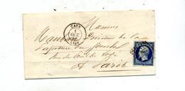 Lettre Cachet Losange  Caen Sur Napoleon + Cherbourg à Paris - 1849-1876: Periodo Clásico
