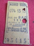 Métropolitain/1ére Classe/0,25/ Valable Le Jour De L'émission/NORD SUD/ RUE Du BAC /Vers 1920-1940       TCK43 - U-Bahn