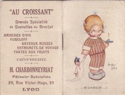 """Cpa / Vieux Pap.-div-calendrier Agenda 1930-pas Sur Delc.-illustrateur Beatrice Mallet + PUB """" Au Croissant """"  Lyon 2ème - Humour"""