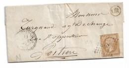 """Yvert N°13  Sur Lettre Avec Correspondance  Pour Poitiers,  Cachet """"OR"""". - 1853-1860 Napoleone III"""