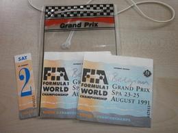 Anciens Tickets D'entrées GRAND PRIX FORMULE 1 FRANCORCHAMPS 1991 AVEC POCHETTE - Eintrittskarten