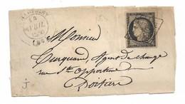 Yvert N°3 Sur Devant De  Lettre , Belle Grille,  Cad 1850 Chauvigny - 1849-1850 Cérès