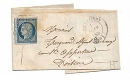 Yvert N°4 Sur   Lettre Sans Correspondance ,  Cad 1851 Chauvigny - 1849-1850 Cérès