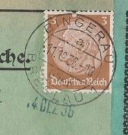 Schlesien Deutsches Reich Karte Mit Tagesstempel Bingerau über Breslau 1936 Lk Trebnitz RB Breslau - Storia Postale