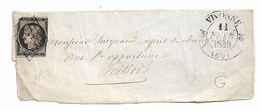 Yvert N°3 Sur Devant De  Lettre Cad VIVONNE 1849  état Voir Scan - 1849-1850 Cérès