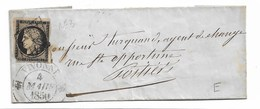 Yvert N°3 Sur  Lettre  Sans Correspondance   Cad VIVONNE 1850  état Voir Scan - 1849-1850 Cérès