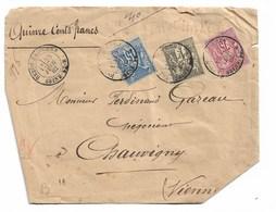 Yvert N°71  +  N°72  + N° 90 Sur Letre Chargé 1882  De Beton-Bazoches Pour Chauvigny Cad Chamcenest - 1876-1898 Sage (Type II)