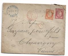 Yvert N°57  + N° 38  Sur Lettre Chargé De Paris (cachet Rouge  + Cachet Bleu+ Cachet La Rochelle ) - 1871-1875 Cérès