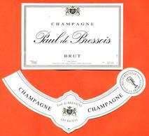étiquette + Collerette De Champagne Brut Paul De Bressois Jacques Defrance à Les Riceys - 75 Cl - Champan