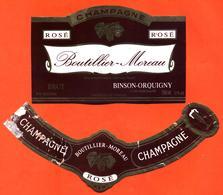 étiquette + Collerette De Champagne Brut Rosé Boutillier Moreau à Binson Orquigny - 75 Cl - Champagne