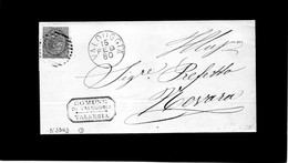 CG11 - Lett. NO TESTO Da Valduggia X Novara  15/2/1880 - Ann. A Sbarre N.3243 Su Cent.10  + Cerchio Grande Nom. - Storia Postale