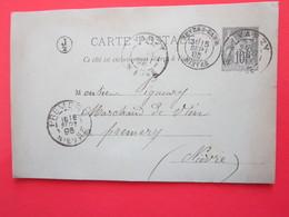 Cp BARBIER écrite à CHAUFFOUR (58) Le 15/09/1895 Oblitérée (J2) VARZY, NEVERS-GARE, PREMERY (58) Timbre Entier Type Sage - Ganzsachen