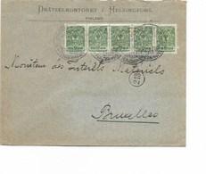 SH 0330. Bande De 5 TP 2 Kop. HELSINGFORS 1913 S/Lettre Commerciale V. Bruxelles. Arr. Bruxelles 19.VI.13 - Covers & Documents