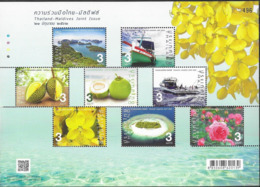 THAILAND, 2019, MNH,JOINT ISSUE WITH THE MALDIVES, BOATS, FISHING, FRUIT, FLOWERS, BEACHES, SHEETLET - Gezamelijke Uitgaven