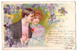 6869b - Cp Fantaisie Romantique Gaufrée  : Couple D'Amoureux - A.G.M. - - Couples