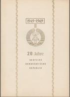 """DDR: Gedenkblatt Mi-Nr. 1508, Bl. 29 ESST: """" 20 Jahre Deutsche Demokratische Rebublik """", Goldfarben !   X - Storia Postale"""