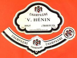 étiquette + Collerette De Champagne Brut V Henin à Trois Puits - 75 Cl - Champagne