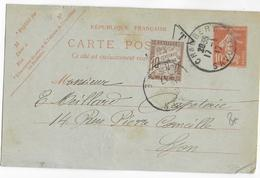 1917 - CARTE ENTIER SEMEUSE De CHAMBERY (SAVOIE) => LYON Avec TAXE DUVAL - Postal Stamped Stationery