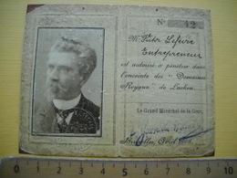 """Bruxelles 1915 . Rare  Autorisation à Pénetrer Dans L'enceinte Des """" Domaines Royaux """" De Lacken .2 Photos . - Documenti Storici"""