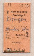 BRD - Entwertete Pappfahrkarte Edmond   --> Personenzug / Freising - Ertingen - Railway