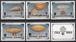 DPR Korea 1982 Sc. 2249-2250  Zeppelin Bicentenary Of Manned Flight Full Set CTO + Label - Zeppelin