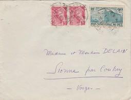 Yvert 424 Ministère - Orphelins PTT + 406 X 2 Paire Mercure Sur Lettre VIERZON Cher 1940 à Sionne Par Coussey Vosges - France