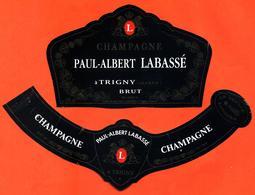 étiquette + Collerette + Etiq De Dos De Champagne Brut Paul Albert Labassé à Trigny - 75 Cl - Champagne