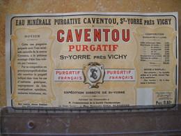 étiquette , Publicitée Eau Minérale Caventou, St Yorre . 2 Photos - Publicités