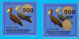 SOUTH SUDAN  Overprint Unadopted Proof On 1 SSP Birds Stamp, 500 SSP On Golden Oval, Double Oval Südsudan Soudan Du Sud - South Sudan