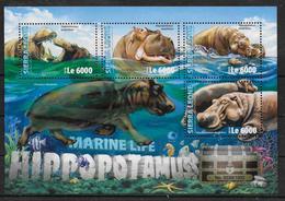 SIERRA LEONE Feuillet N° 5825/28 * *  ( Cote 20e )  Hippopotame - Postzegels