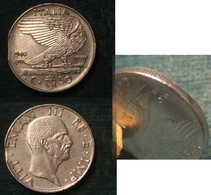 M_p> CURIOSITA' Regno Vitt Eman III° 50 Centesimi 1940 XVIII Serie Impero - Leggera Mancanza Di Metallo Al Bordo - 1861-1946 : Regno