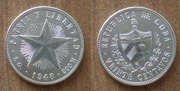 Cuba 20 Centavos 1948 UNC Silver Argent Centavo Que Prix + Port Pesos Paypal Bitcoin - Cuba