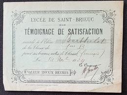 LYCEE De ST BRIEUC  - TEMOIGNAGE De SATISFACTION - 1924 - Diploma & School Reports
